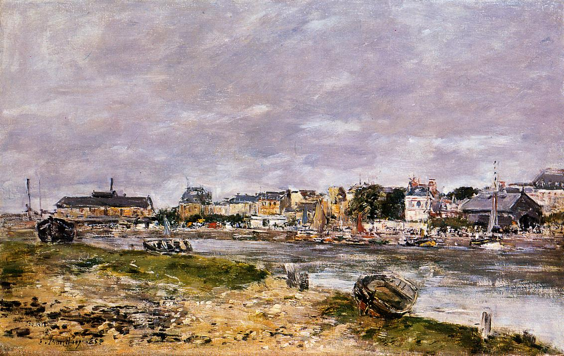 The Port of Trouville the Market Place and the Ferry 1884 | Eugene Louis Boudin | Oil Painting