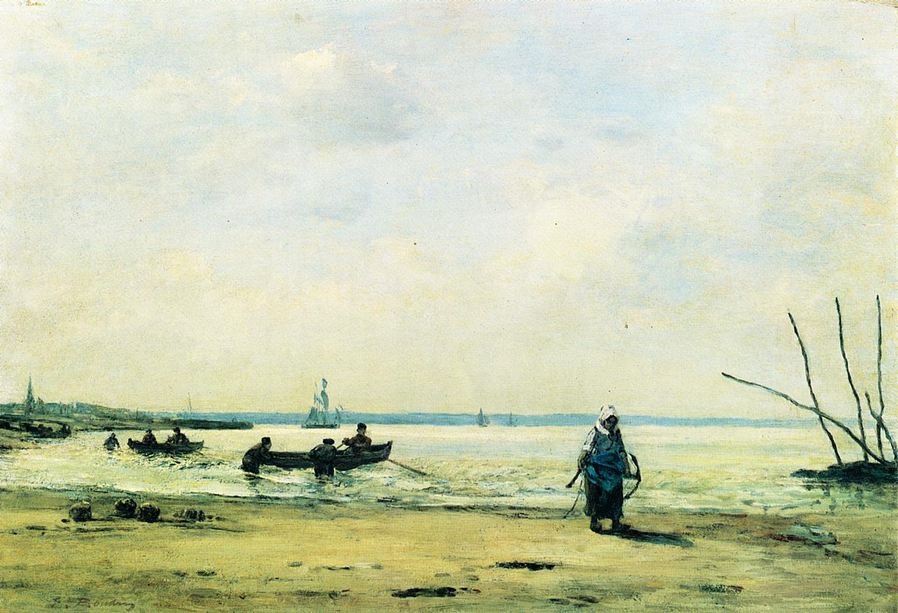 The Shore at Low Tide near Honfleur 1864-1865 | Eugene Louis Boudin | Oil Painting