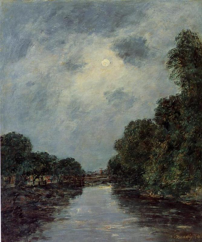 The Somme near D'Abbeville - Moonlight 1894 | Eugene Louis Boudin | Oil Painting