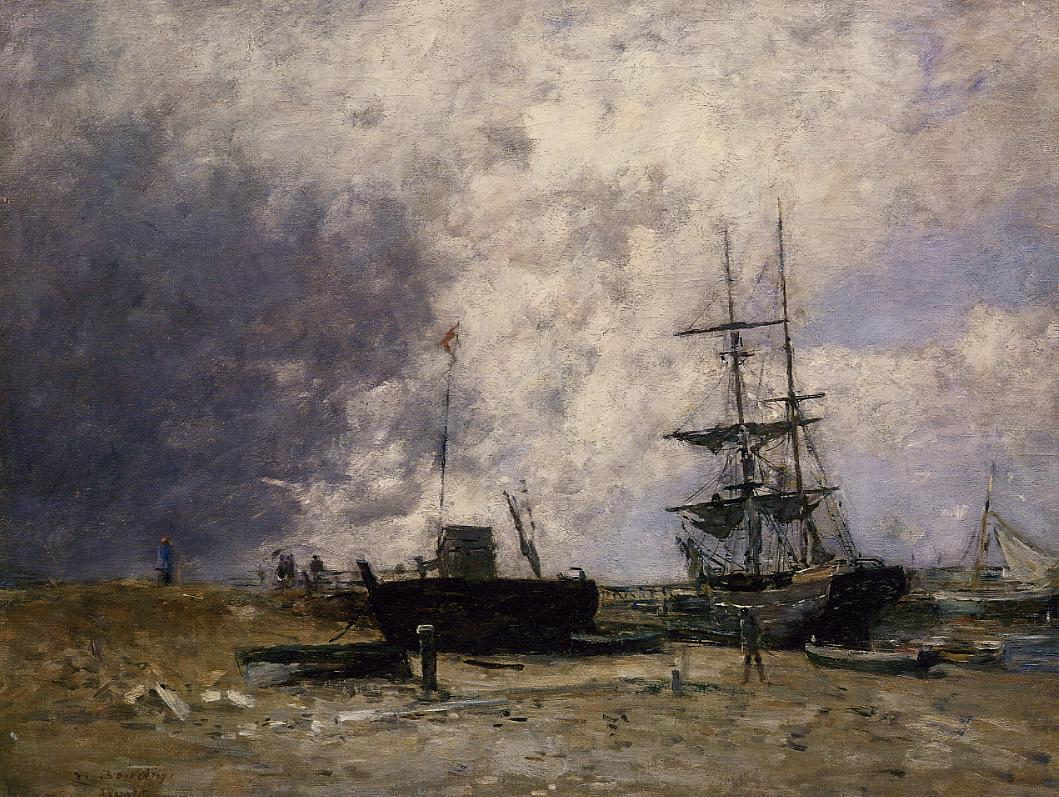 The Trouville Coastline Low tide 1880-1885 | Eugene Louis Boudin | Oil Painting