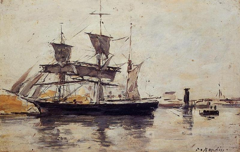 Three Masted Ship at Dock 1880-1885 | Eugene Louis Boudin | Oil Painting