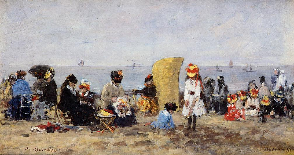 Trouville Beach Scene2 1881 | Eugene Louis Boudin | Oil Painting