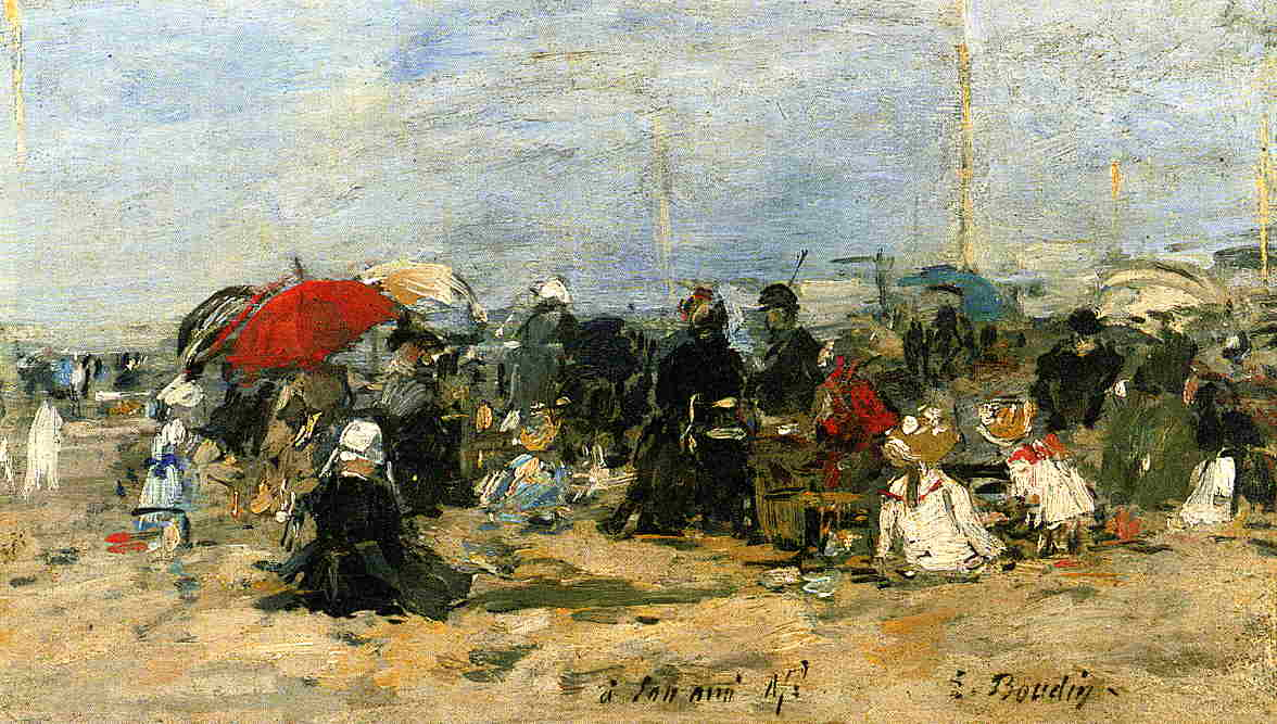 Trouville Beach Scene 1883-1887 | Eugene Louis Boudin | Oil Painting