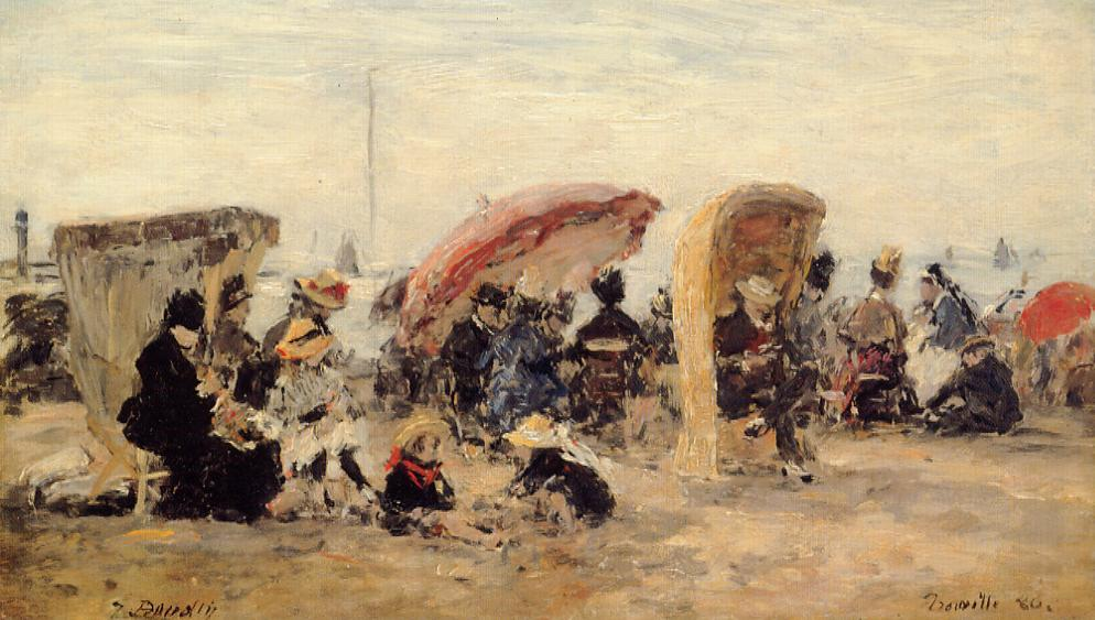 Trouville Beach Scene 1886 | Eugene Louis Boudin | Oil Painting