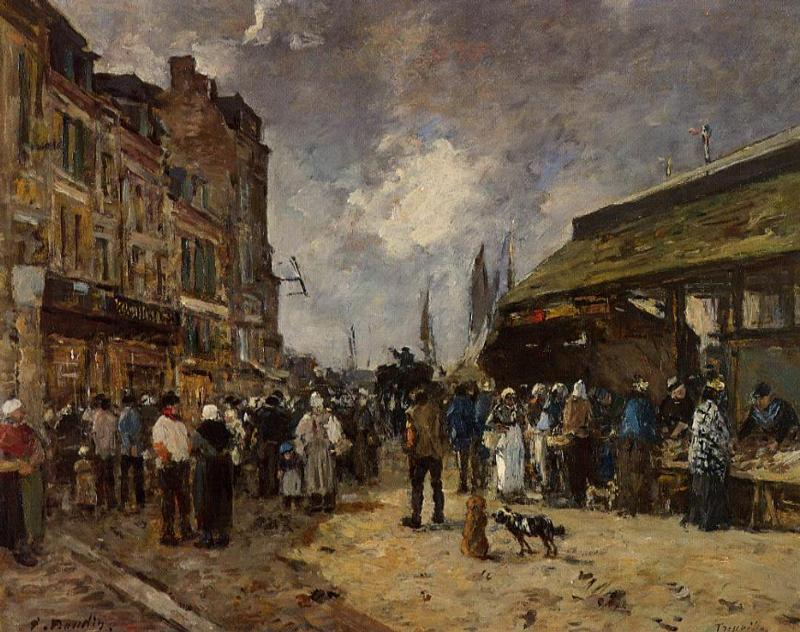 Trouville Fish Market 1871 | Eugene Louis Boudin | Oil Painting