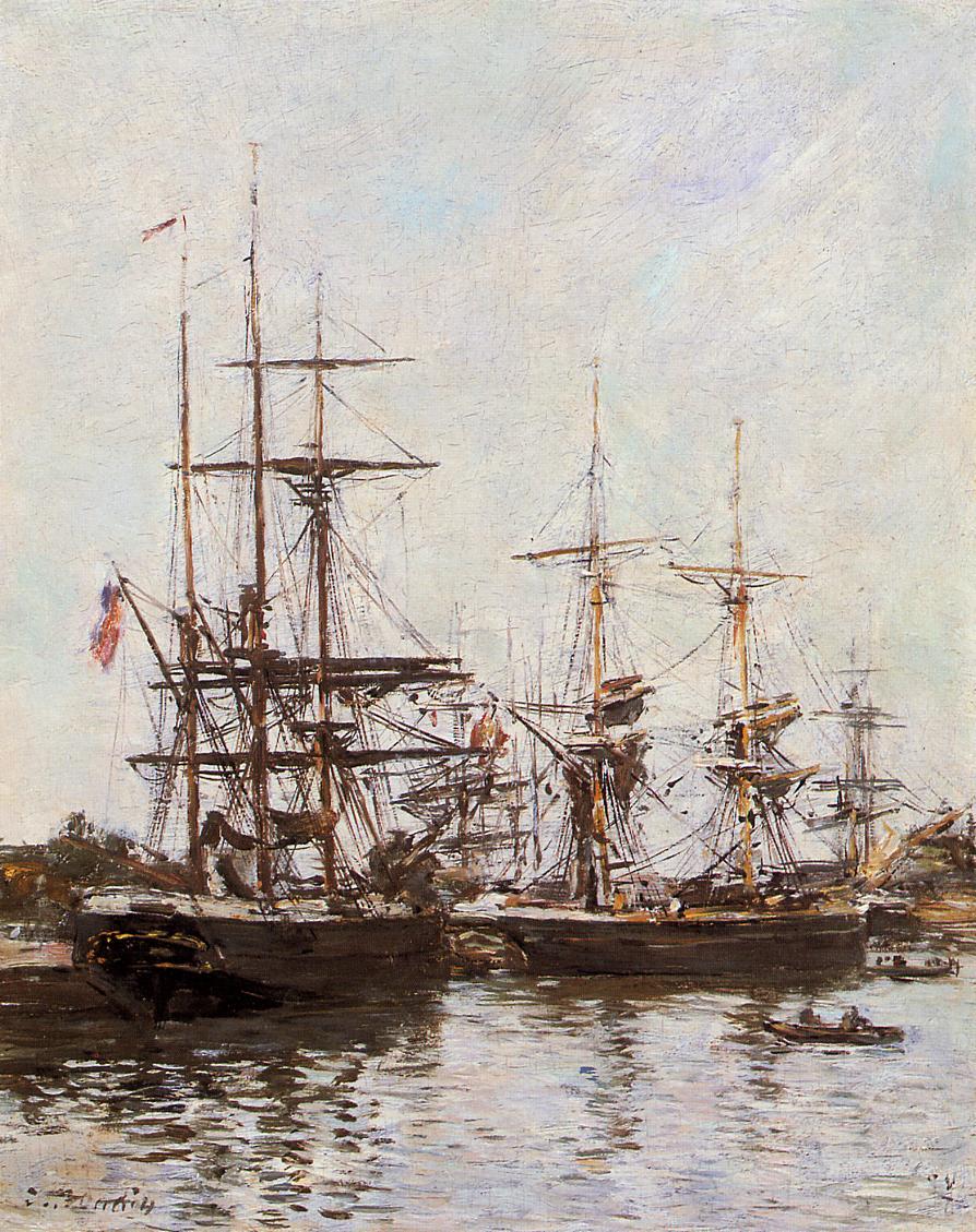 Trouville Harbor 1890 | Eugene Louis Boudin | Oil Painting