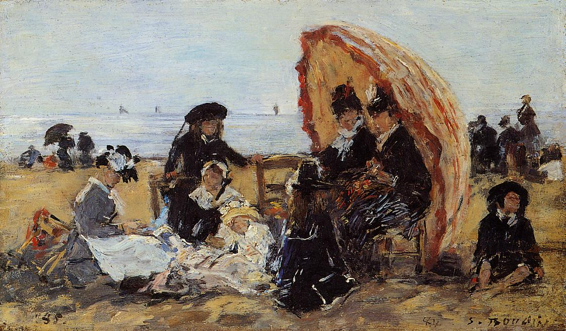 Trouville on the Beach Sheltered by a Parasol 1885 | Eugene Louis Boudin | Oil Painting