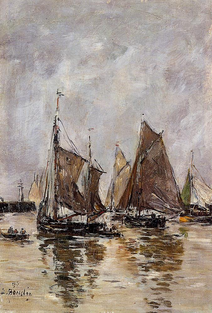 Trouville Sardine Boats Getting Underway 1894 | Eugene Louis Boudin | Oil Painting
