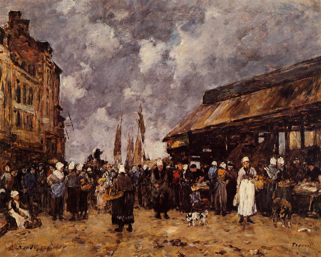Trouville the Fish Market 1884 | Eugene Louis Boudin | Oil Painting