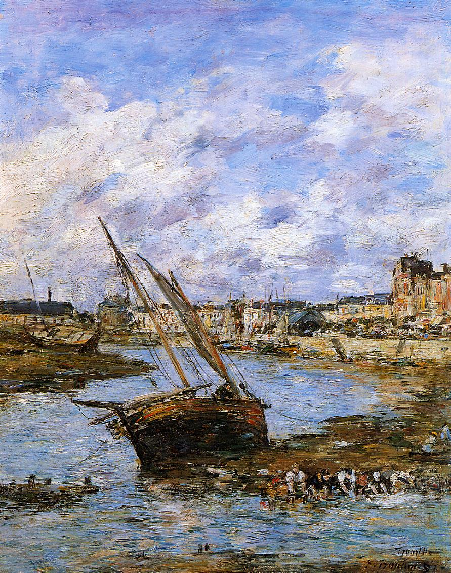 Trouville the Inner Port Low tide 1881 | Eugene Louis Boudin | Oil Painting