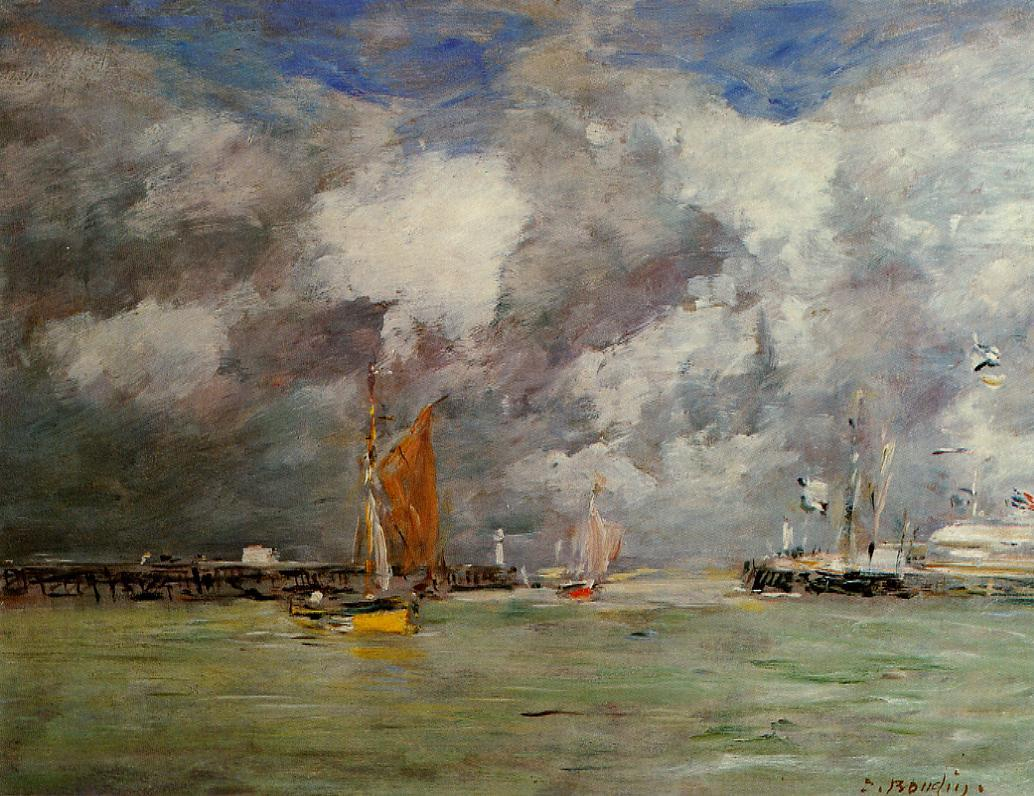 Trouville the Jettys at Low Tide2 1883-1887 | Eugene Louis Boudin | Oil Painting