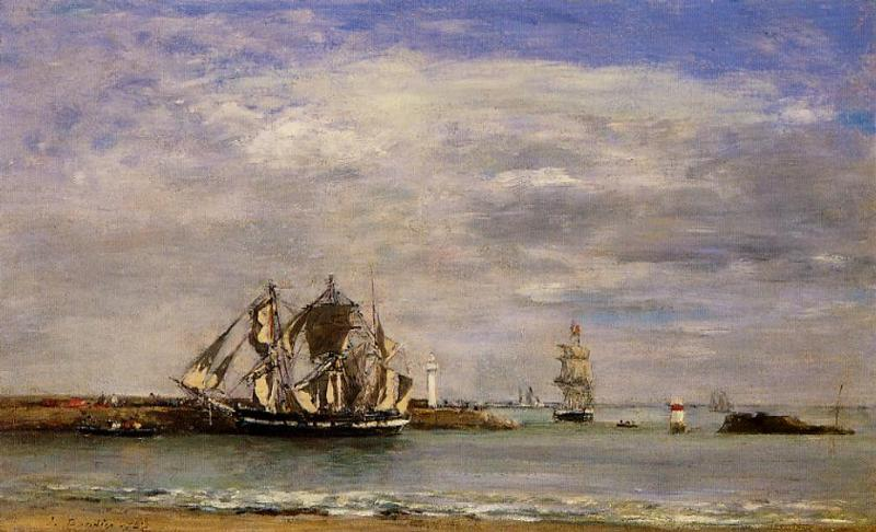Trouville the Jettys High Tide 1892-1896 | Eugene Louis Boudin | Oil Painting