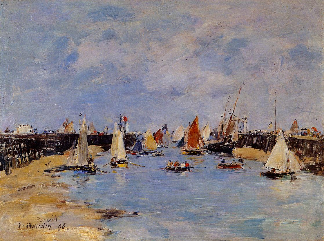 Trouville the Jettys Low Tide1 1896 | Eugene Louis Boudin | Oil Painting