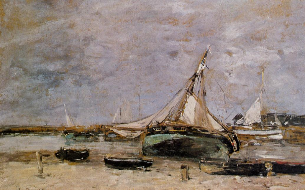 Trouville the Jettys Low Tide 1879 | Eugene Louis Boudin | Oil Painting
