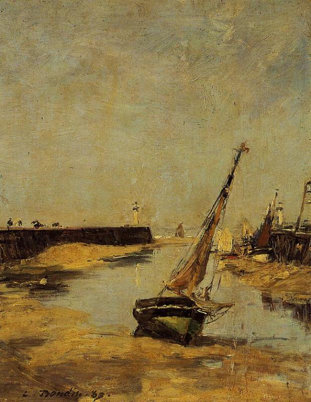 Trouville the Jettys Low Tide 1883 | Eugene Louis Boudin | Oil Painting