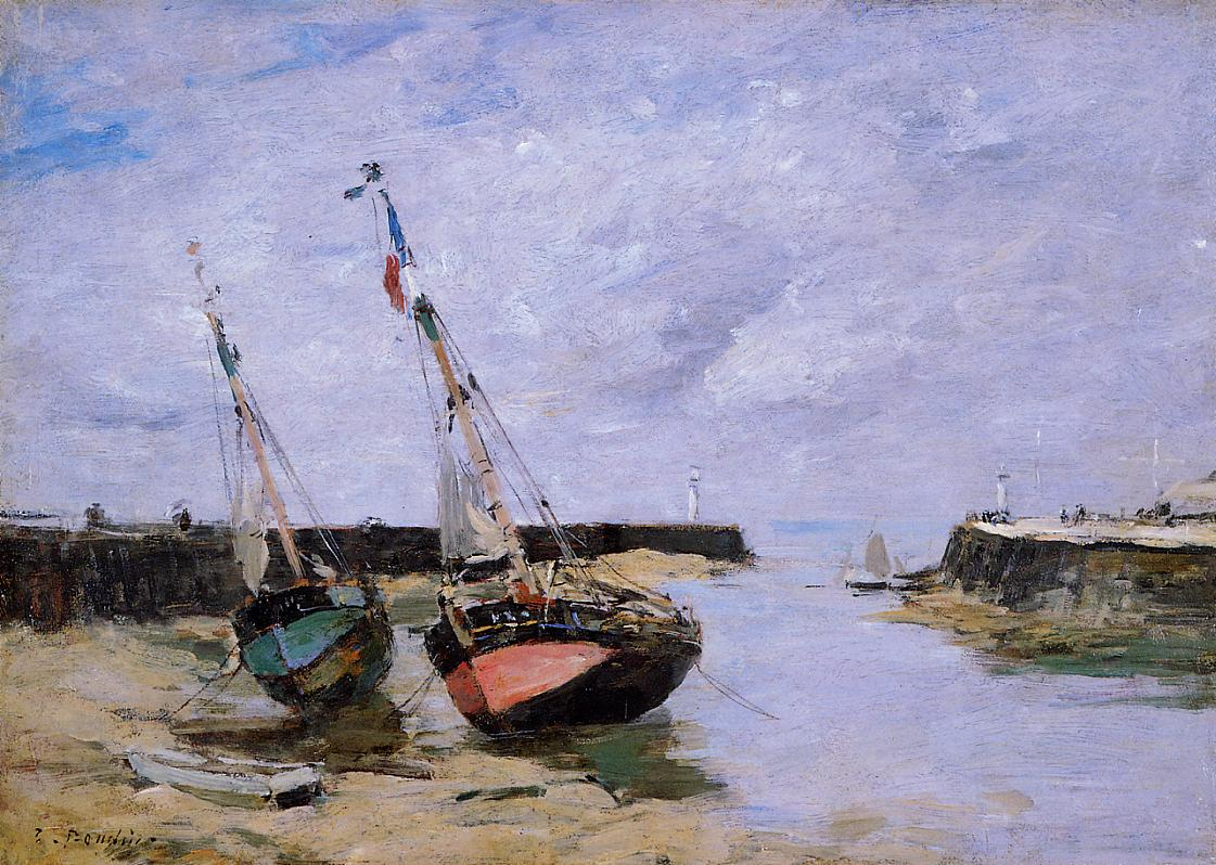 Trouville the Jettys Low Tide 1885-1890 | Eugene Louis Boudin | Oil Painting