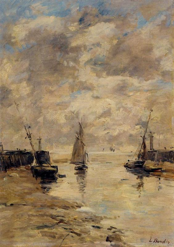 Trouville the Jettys Low Tide 1892-1896 | Eugene Louis Boudin | Oil Painting