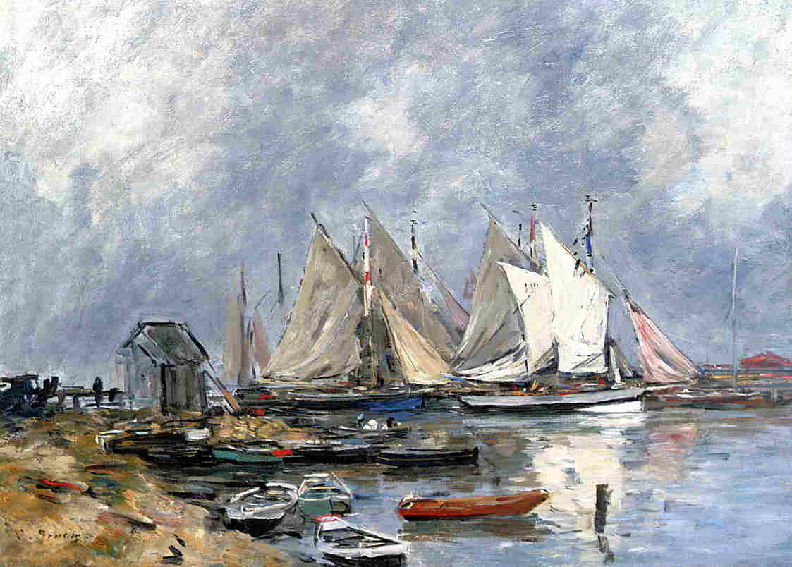 Trouville the Port Boats and Dinghys 1880-1885 | Eugene Louis Boudin | Oil Painting