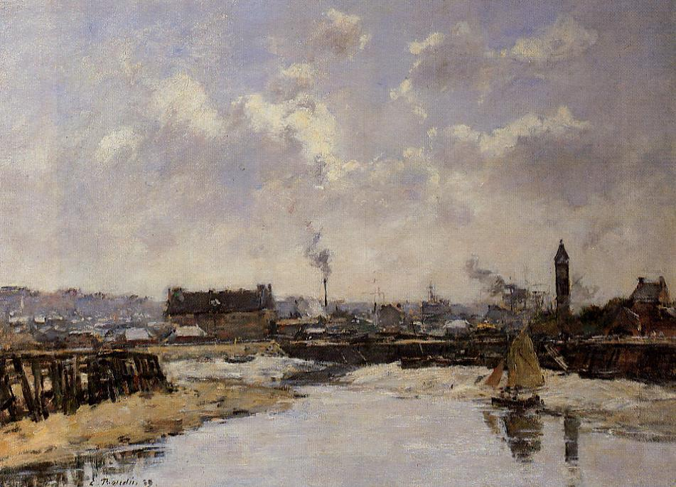 Trouville the Port Low Tide Morning 1889 | Eugene Louis Boudin | Oil Painting