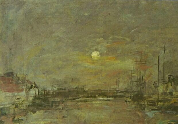Twilight over the Basin of Le Havre 1872 | Eugene Louis Boudin | Oil Painting