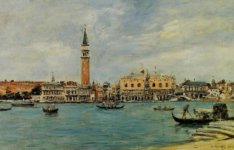 Venice the Campanile the Dical Palace and the Piazetta View from San Georgio 1895 | Eugene Louis Boudin | Oil Painting