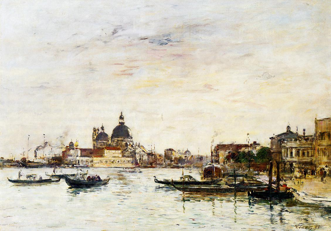 Venice the Mole at the Entrance of the Grand Canal and the Salute 1895 | Eugene Louis Boudin | Oil Painting