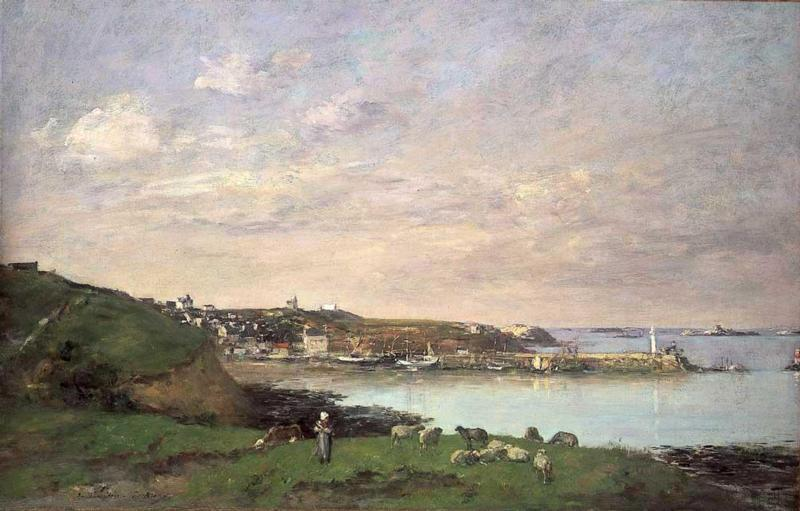 View at Saint-Quay-Portriaux 1871-1873 | Eugene Louis Boudin | Oil Painting