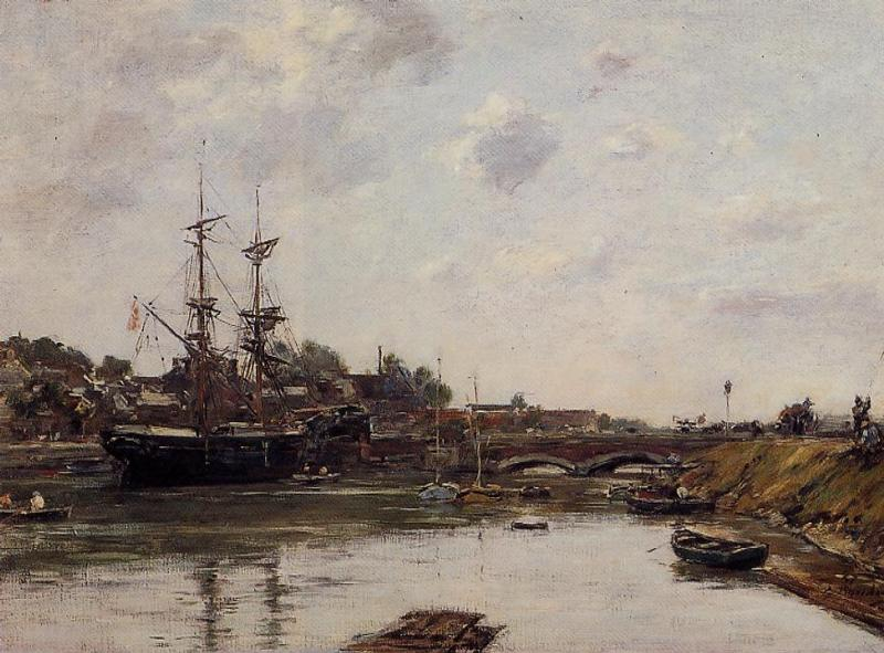 View of La Touques 1887 | Eugene Louis Boudin | Oil Painting