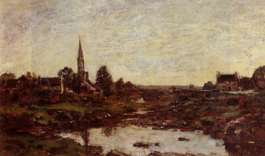 Village in Brittany 1870 | Eugene Louis Boudin | Oil Painting