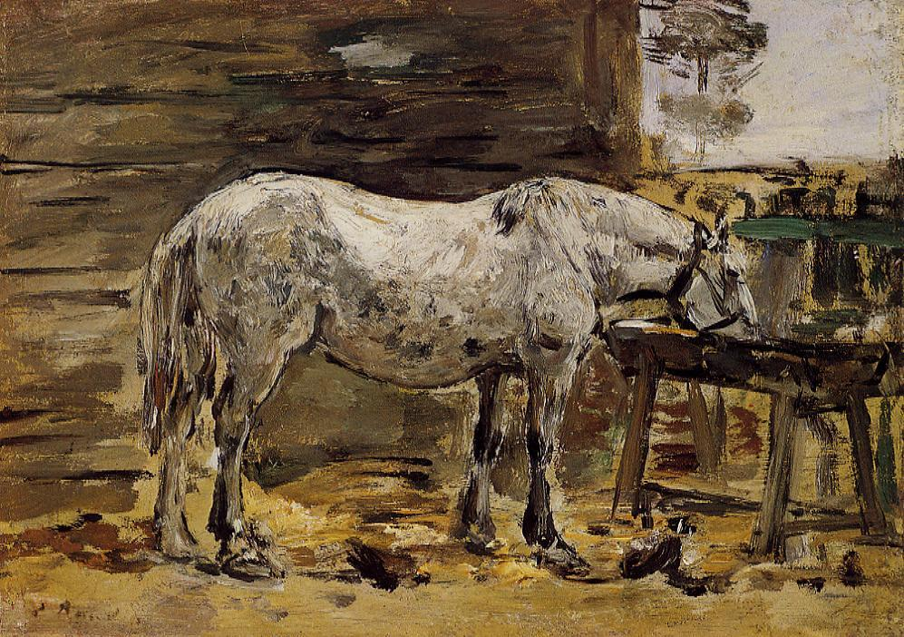 White Horse at the Feeding Trough 1885-1890 | Eugene Louis Boudin | Oil Painting