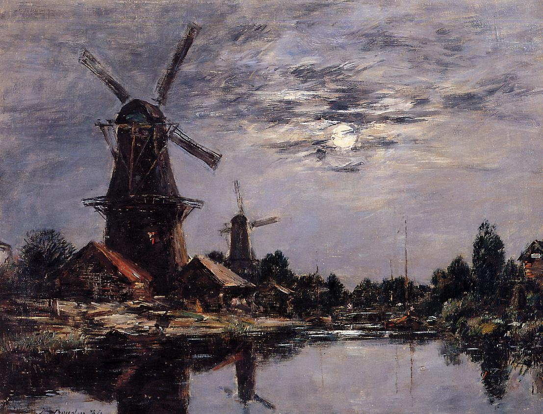 Windmills and Canel near Dordrecht 1884 | Eugene Louis Boudin | Oil Painting