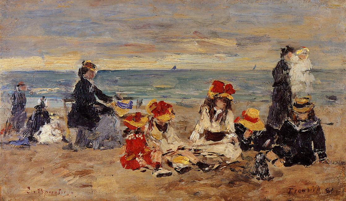 Woman and Children on the Beach at Trouville1 1880 | Eugene Louis Boudin | Oil Painting