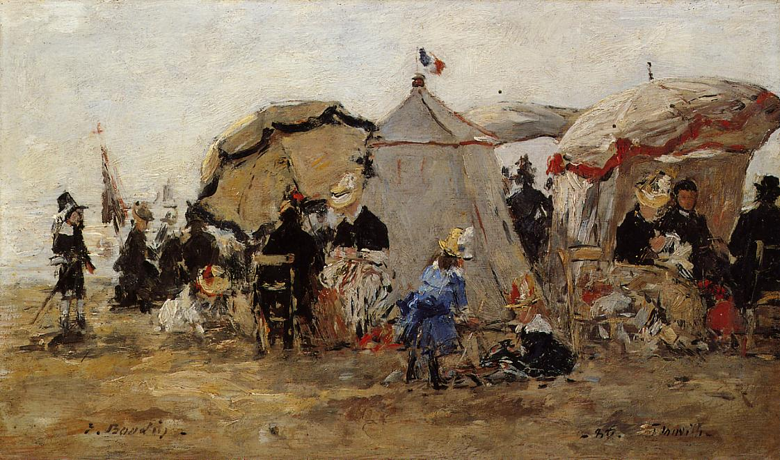 Woman and Children on the Beach at Trouville2 1880 | Eugene Louis Boudin | Oil Painting