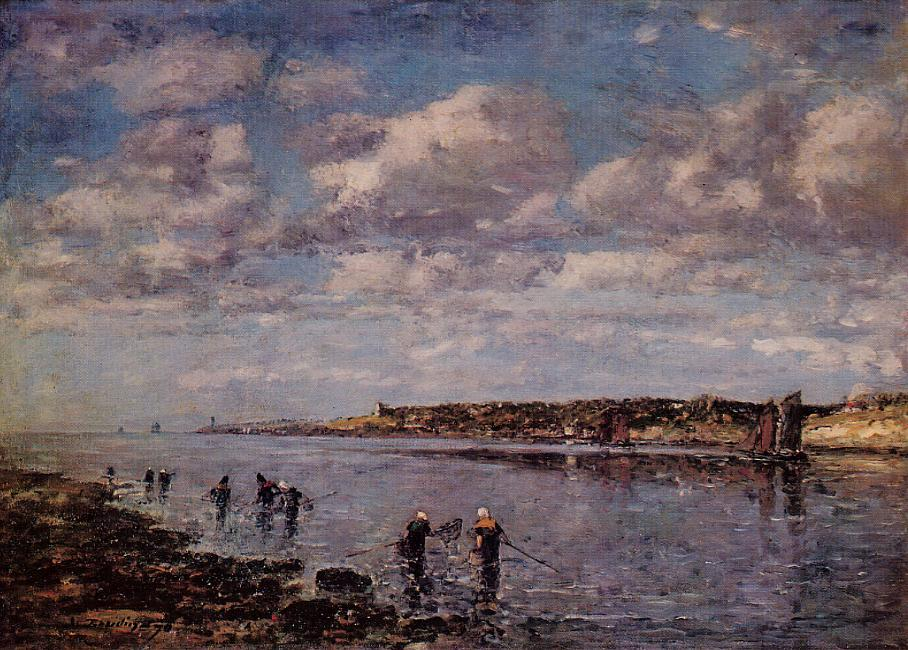 Women Fishing for Shrimp at Kerhor 1870 | Eugene Louis Boudin | Oil Painting
