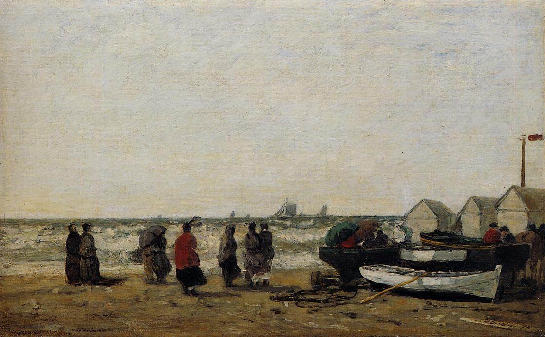 Women on the Beach Rough Seas 1870 | Eugene Louis Boudin | Oil Painting