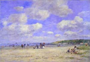 The Beach at Trouville les Sablons | Eugene Louis Boudin | Oil Painting