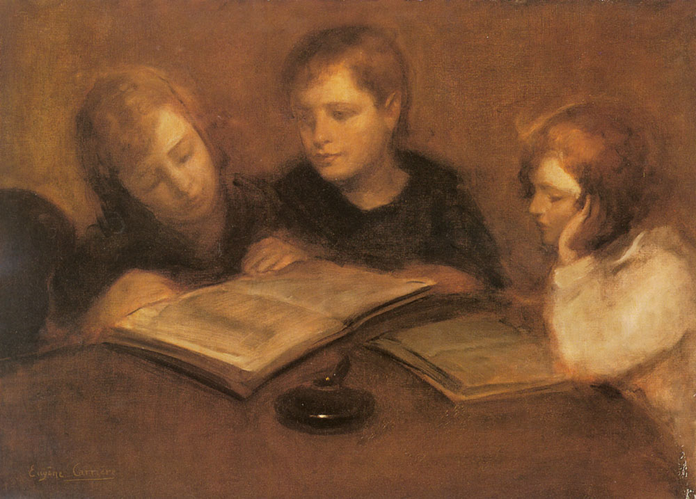 Girls Reading | Eugene Carriere | Oil Painting