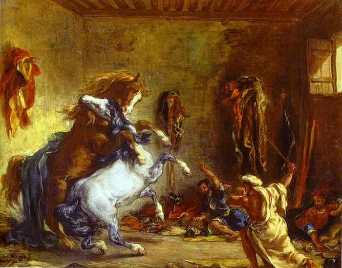 Arab Horses Fighting In A Stable 1860 | Eugene Delacroix | Oil Painting