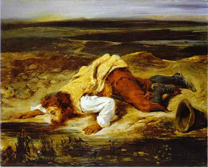 A Mortally Wounded Brigand Quenches His Thirst 1825 | Eugene Delacroix | Oil Painting