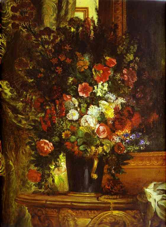 A Vase Of Flowers On A Console 1848-1850 | Eugene Delacroix | Oil Painting