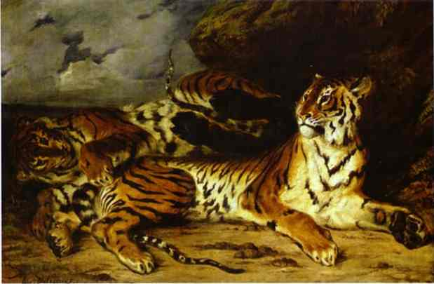 A Young Tiger Playing With Its Mother 1830 | Eugene Delacroix | Oil Painting