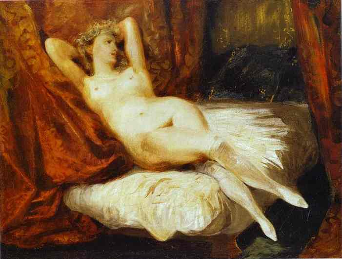 Female Nude Reclining On A Divan 1825-1826 | Eugene Delacroix | Oil Painting