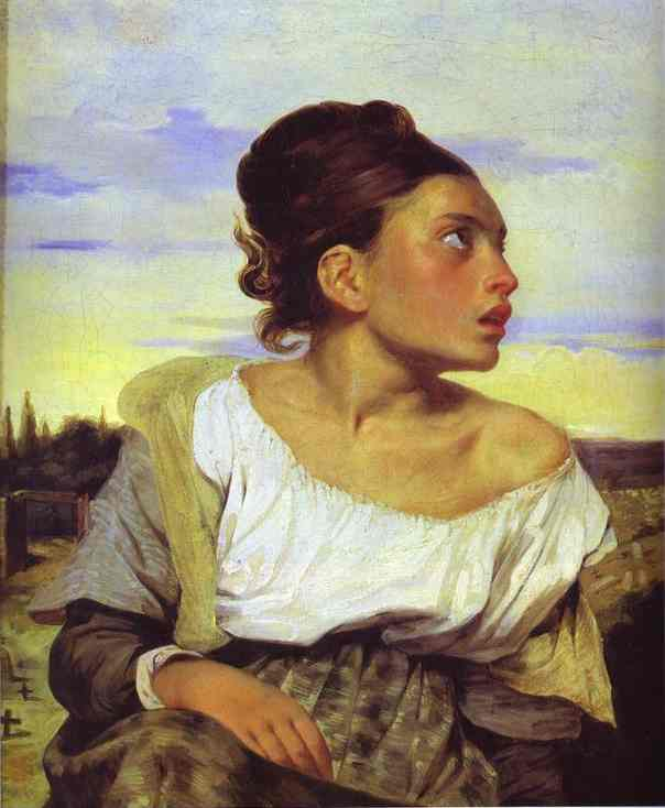 Girl Seated In A Cemetery 1824 | Eugene Delacroix | Oil Painting