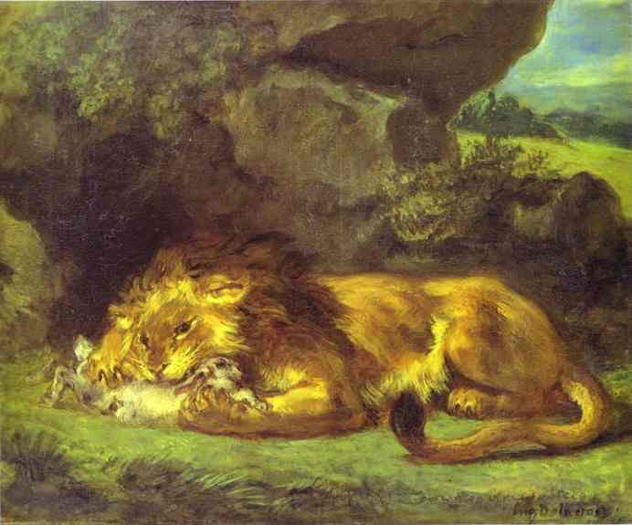 Lion Devouring A Rabbit | Eugene Delacroix | Oil Painting