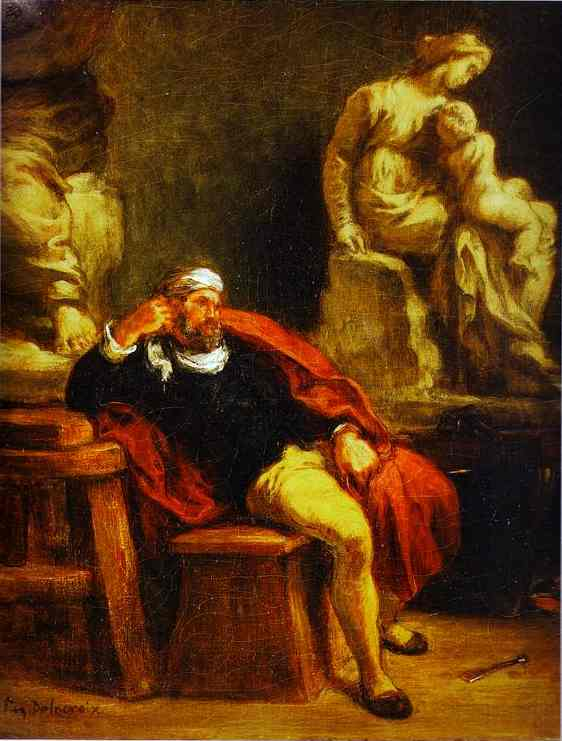 Michelangelo In His Studio 1849-1850 | Eugene Delacroix | Oil Painting