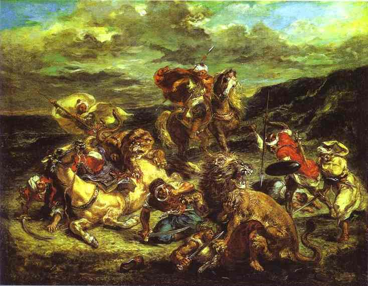 The Lion Hunt 1861 | Eugene Delacroix | Oil Painting