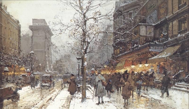 A Busy Boulavard Under Snow | Eugene Galien-Laloue | Oil Painting