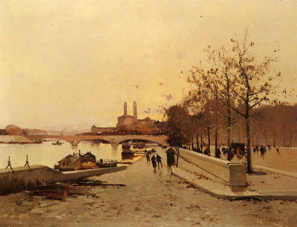 Pont Sue La Seine Avec Une Vue Sur Lancien Trocadero | Eugene Galien-Laloue | Oil Painting