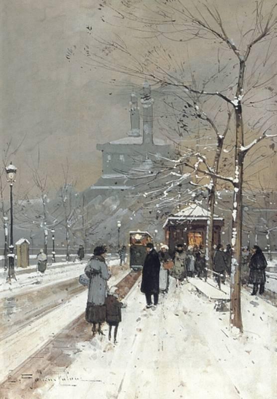 Figures in the Snow Paris | Eugene Galien-Laloue | Oil Painting