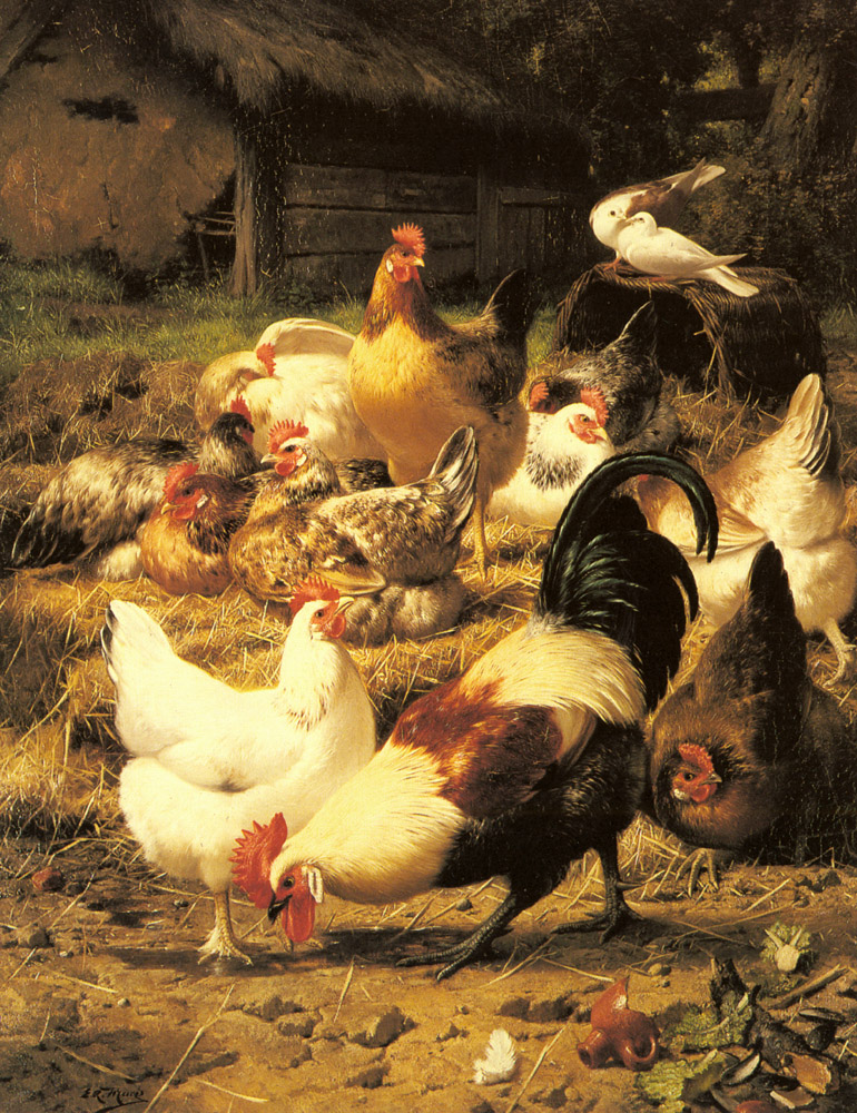Poultry In a Farmyard | Eugene Remy Maes | Oil Painting